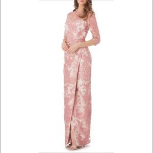 JS Collections Pink Lace Full-Length Gown